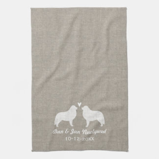 Great Pyrenees Silhouettes with Heart Kitchen Towel