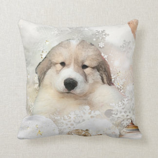 Great Pyrenees Watercolor Puppy Holiday Throw Pillow