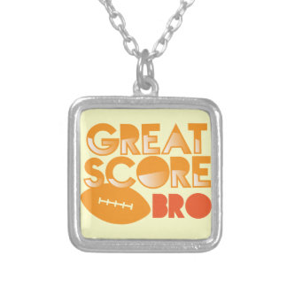 Great Score Bro! with Football Silver Plated Necklace