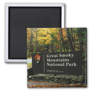 Great Smoky Mountains National Park Autumn Sign Square Magnet