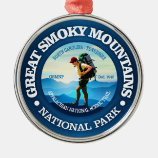 Great Smoky Mountains NP (Hiker C) Silver-Colored Round Ornament
