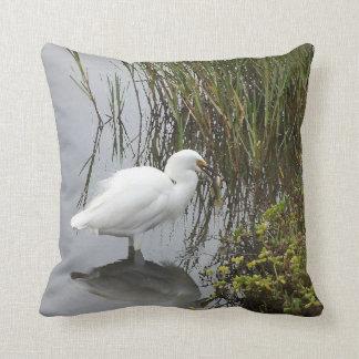 Great & Snowy Egret Birds Wildlife Animal Throw Pillow