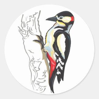 great spotted woodpecker round sticker