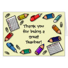 Great teacher pens and pencils customisable card
