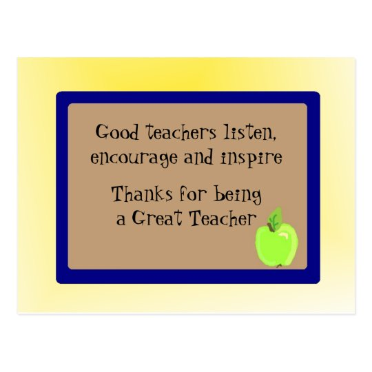 Great Teacher Thank You Postcard