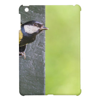 Great tit parent in hole of nest box iPad mini cover