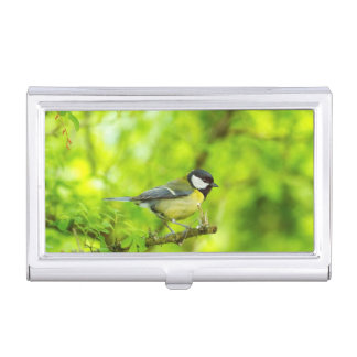 Great tit, parus major business card holder