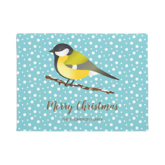Great Tit Parus Major Merry Christmas Family Name Doormat