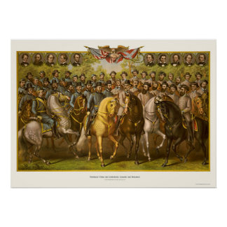 Great Union & Confederate Generals 1865 Poster