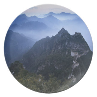 Great Wall in early morning mist, China Plate