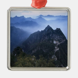 Great Wall in early morning mist, China Silver-Colored Square Ornament