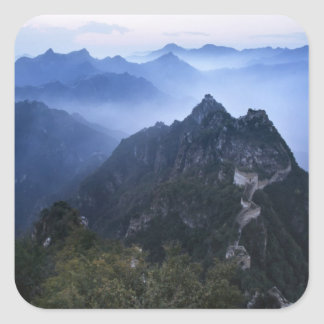 Great Wall in early morning mist, China Square Sticker