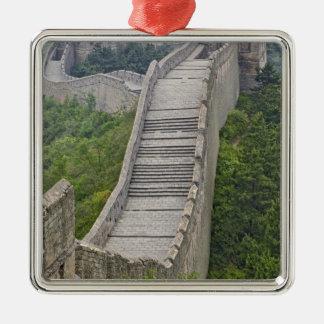 Great Wall, Jinshanling, China Silver-Colored Square Ornament