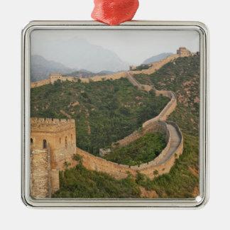 Great Wall of China at Jinshanling, China, Asia Silver-Colored Square Ornament