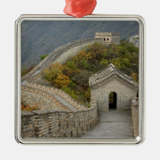 Great Wall of China at Mutianyu Silver-Colored Square Ornament