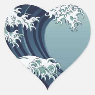 Great Wave Heart Sticker