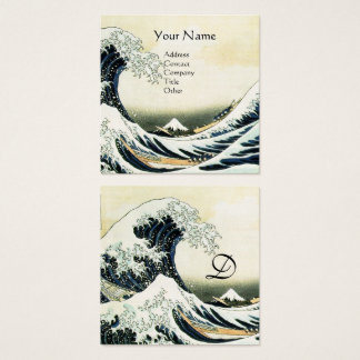 GREAT WAVE MONOGRAM Blue White Square Business Card