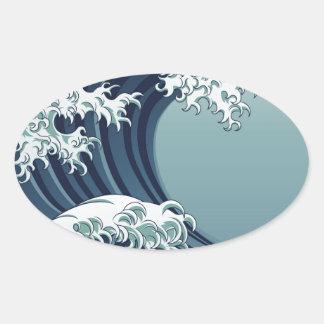 Great Wave Oval Sticker