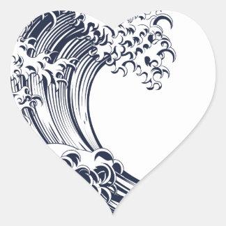Great Wave Vintage Style Woodcut Heart Sticker