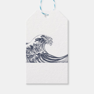 Great Wave Vintage Style Woodcut Pack Of Gift Tags