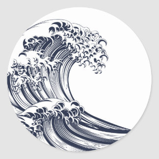Great Wave Vintage Style Woodcut Round Sticker