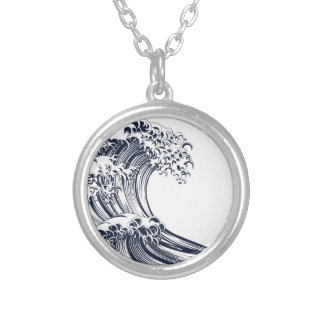 Great Wave Vintage Style Woodcut Silver Plated Necklace