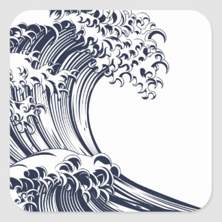Great Wave Vintage Style Woodcut Square Sticker