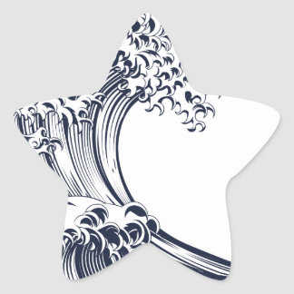 Great Wave Vintage Style Woodcut Star Sticker