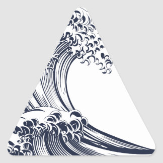 Great Wave Vintage Style Woodcut Triangle Sticker