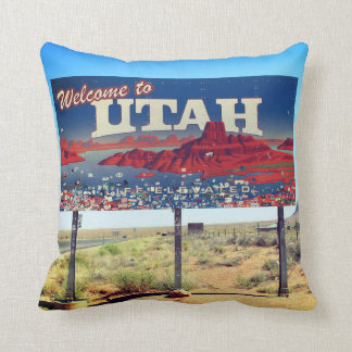 Great Welcome To Utah Sign Pillow! Throw Pillow