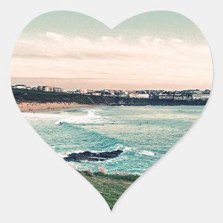 Great Western Beach Newquay Heart Sticker