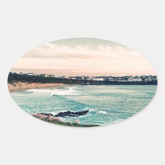 Great Western Beach Newquay Oval Sticker