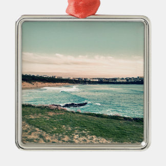 Great Western Beach Newquay Silver-Colored Square Ornament