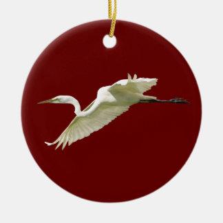 great white egret ceramic ornament