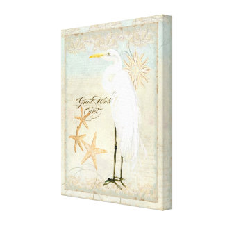 Great White Egret Coastal Beach - Watercolor Art Canvas Print