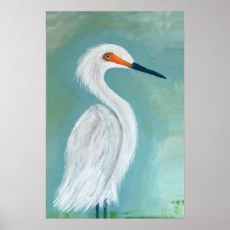 Great White Egret Fine Art Painting Poster