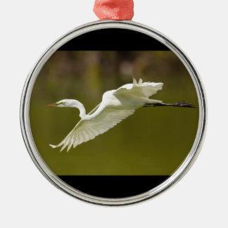 great white egret metal ornament