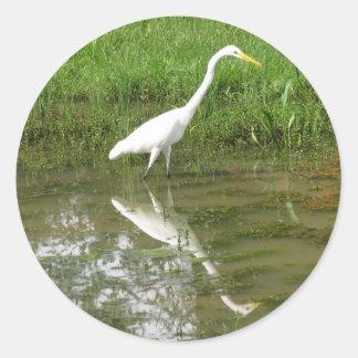 Great White Egret Round Sticker