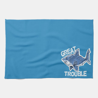 great white great trouble funny cartoon kitchen towel