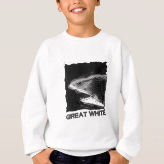 great white halftone grey cartoon with text sweatshirt