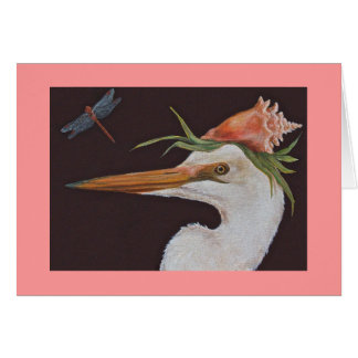 Great white heron with conch card