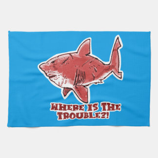 great white shark cartoon with text red tint hand towels