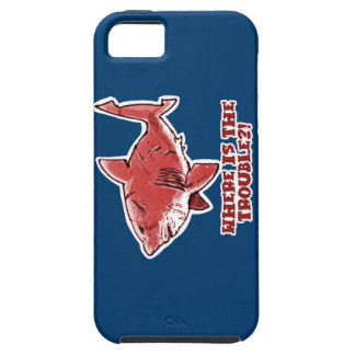 great white shark cartoon with text red tint iPhone 5 cover