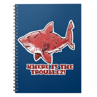 great white shark cartoon with text red tint spiral notebook