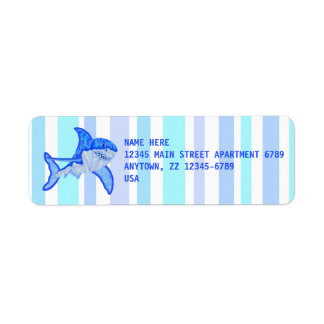 Great White Shark Colorful Sea Stripes Return Address Label
