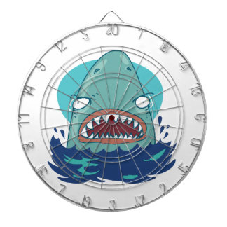 great white shark funny cartoon dartboard