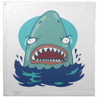 great white shark funny cartoon napkin