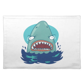 great white shark funny cartoon placemat
