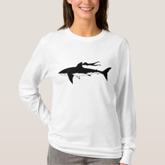 Great white shark gliding - on light background T-Shirt