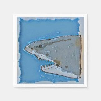 great white shark half body cartoon disposable napkin